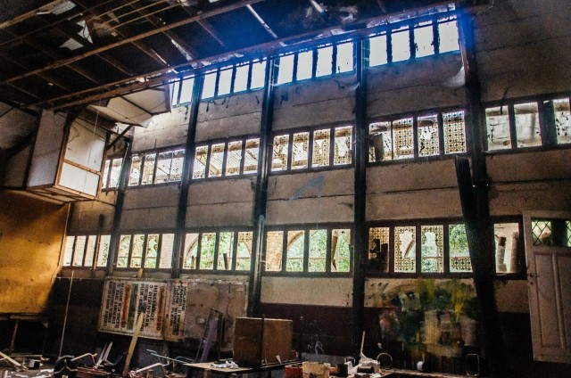 Light trickles in to one of the many buildings in disarray