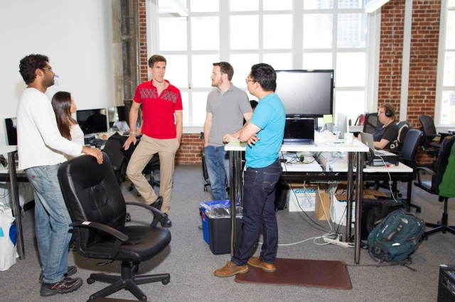 A stand up meeting in Automatic's San Francisco offices keep things moving forward.