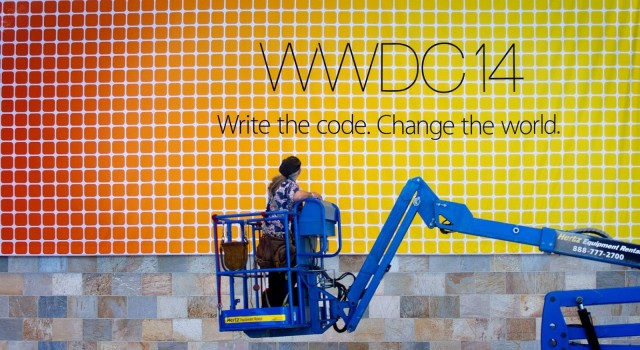 The 2014 WWDC banner gets the drop down at San Francisco's Moscone Center Tuesday afternoon May 27, 2014. Photo: Jim Merithew/Cult of Mac