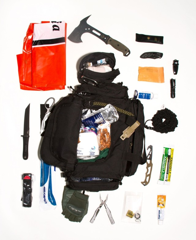 Curtis' Bug Out Bag is just one of the grab-and-go emergency kits documented in Allison Stewart's Bug Out Bag photo series.