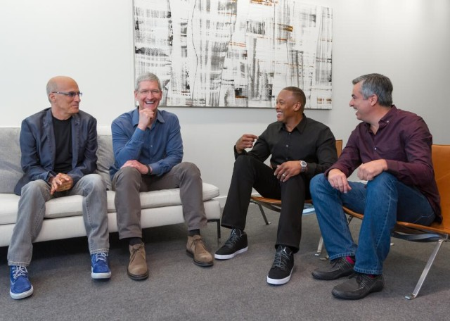 Jimmy Iovine, Tim Cook, Andre Young, and Eddie Cue. Photo: Apple
