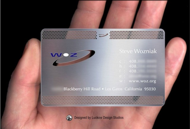 Woz uses his famous metal business card to cut steaks on airplanes. Photo: Luckow Designs.