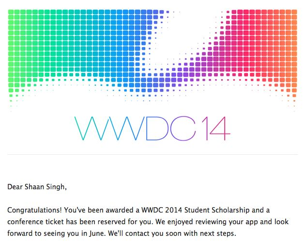 The lucky email Singh received from Apple.