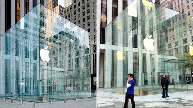 Before and after: a 2011 redesign pared down the number of panes of glass in Apple's Fifth Avenue store from 90 to 15