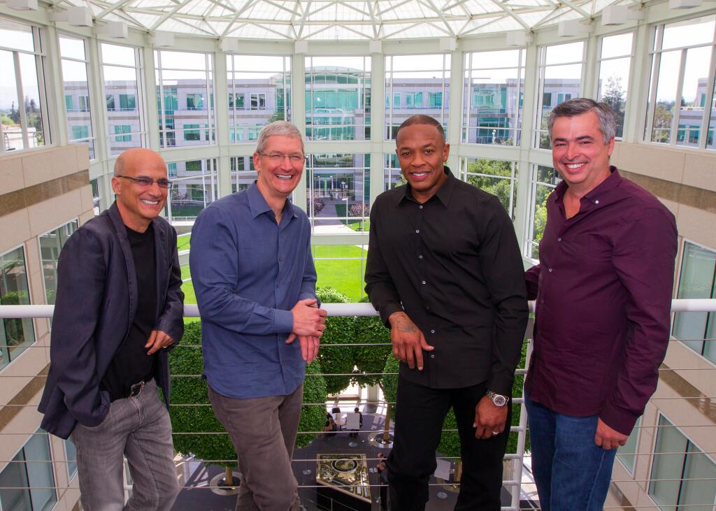 Beats Music's Jimmy Iovine, Tim Cook, Dr. Dre, and Eddy Cue at Apple HQ