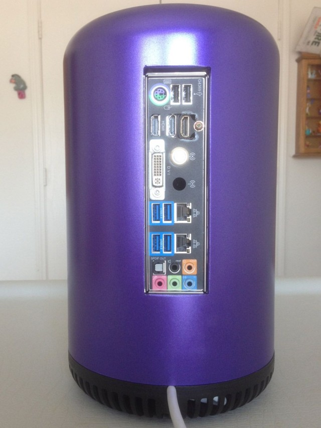 Purple Mac Pro Hackintosh, back view
