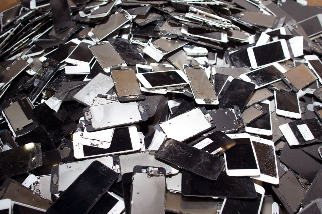 Smartphones await their fate at SIMS Recycling Solutions' mega-shredder facility in Roseville, California. Photo: Jim Merithew/Cult of Mac