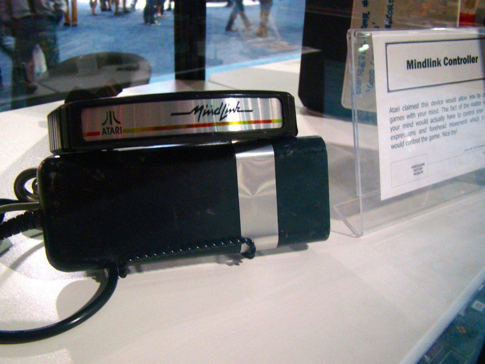 The Atari Mindlink was never released, though it was supposed to come out in 1984 for the Atari 2600. It was developed to read your head muscles (not actually your mind) and move stuff in the games developed for it, Bionic Breakthrough and Mind Maze. The games never even came out, either. Test players got headaches, apparently, moving their eyebrows around to play these uninteresting games.