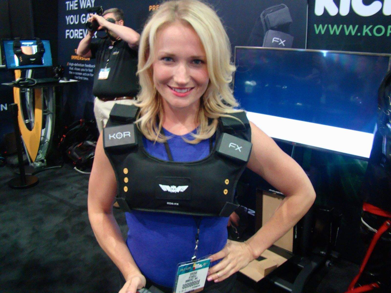 The KOR-FX Vest modeled by an actress at the E3 booth. Photo: Rob LeFebvre/Cult of Mac