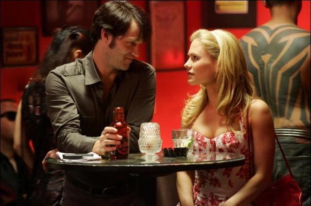 Bill loves Sookie while he drinks his True Blood.