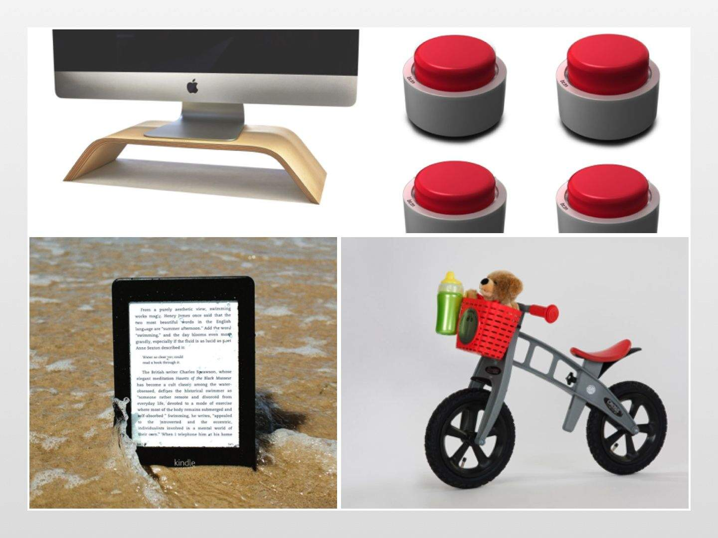 From waterproof e-readers and old-school (sort of) newspapers to stylish Mac stands and remarkably big buttons, here's what's new on the gadget front this week.