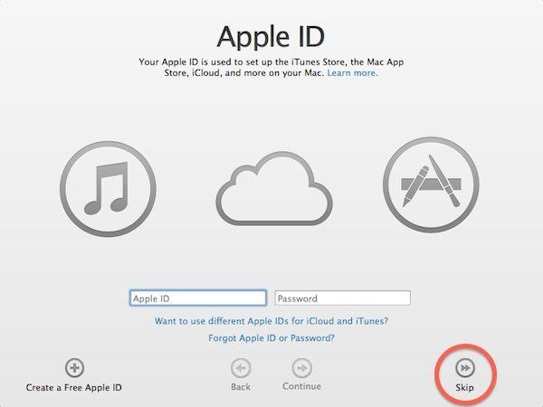 Skip initial Apple ID setup