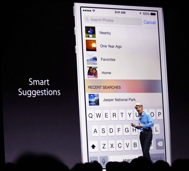 Craig Federighi shows off a Smart Suggestions feature at WWDC. Photo: Roberto Baldwin/The Next Web