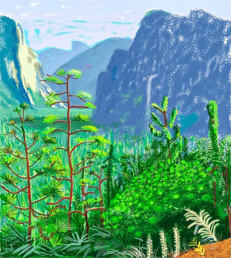 David Hockney, Yosemite I, © 2013 David Hockney, used with permission de Young Museum.