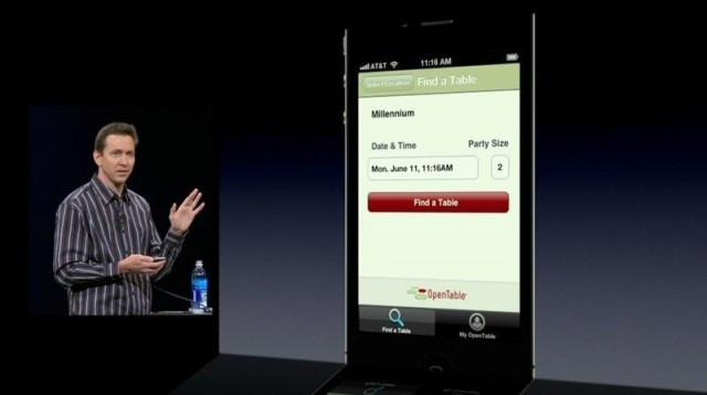 Scott Forstall introduces Siri's newfound ability to book tables, back in 2012