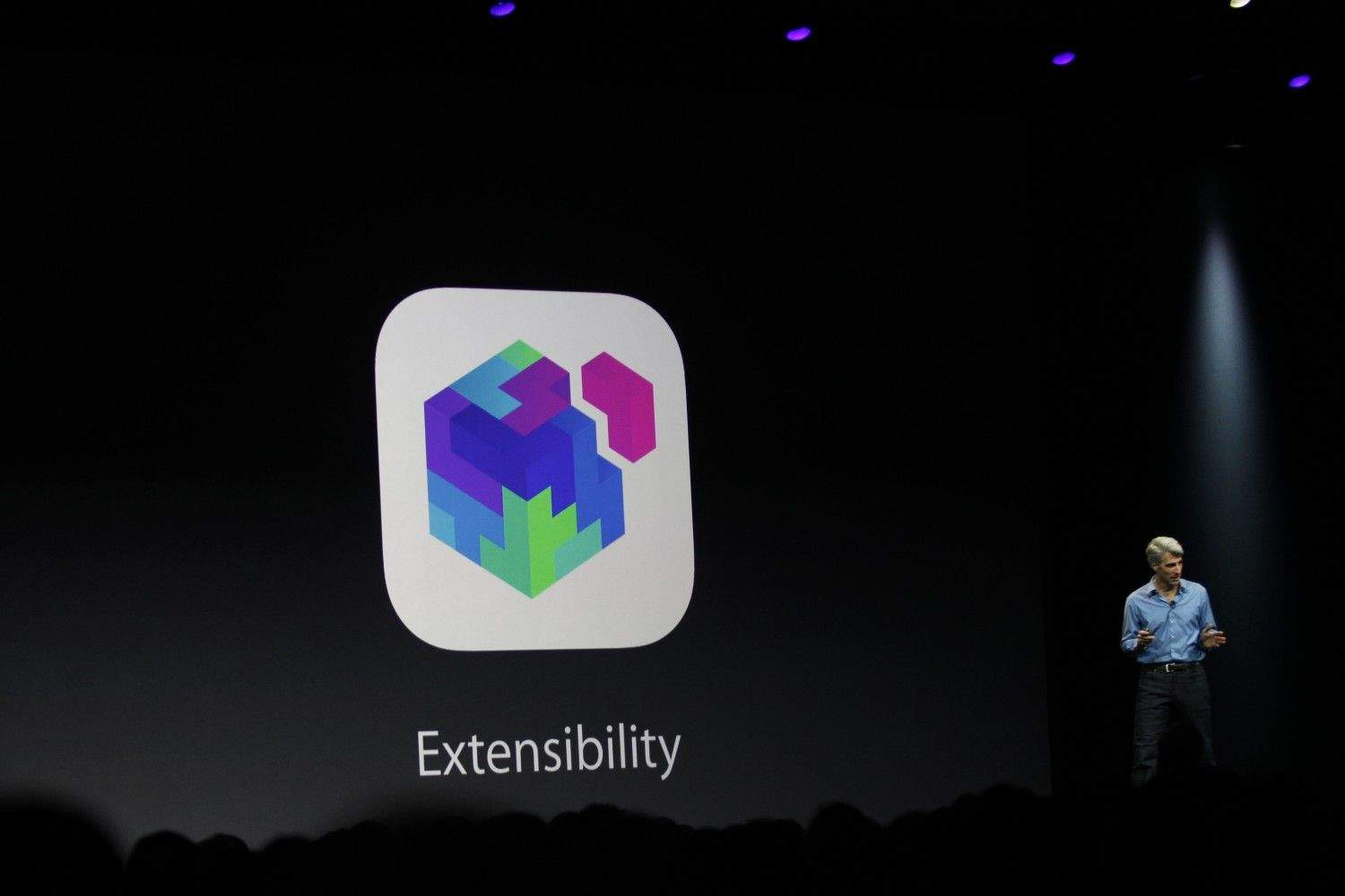 Craig Federighi unveiling Extensibility at WWDC on Monday. (Photo: Roberto Baldwin/ The Next Web)