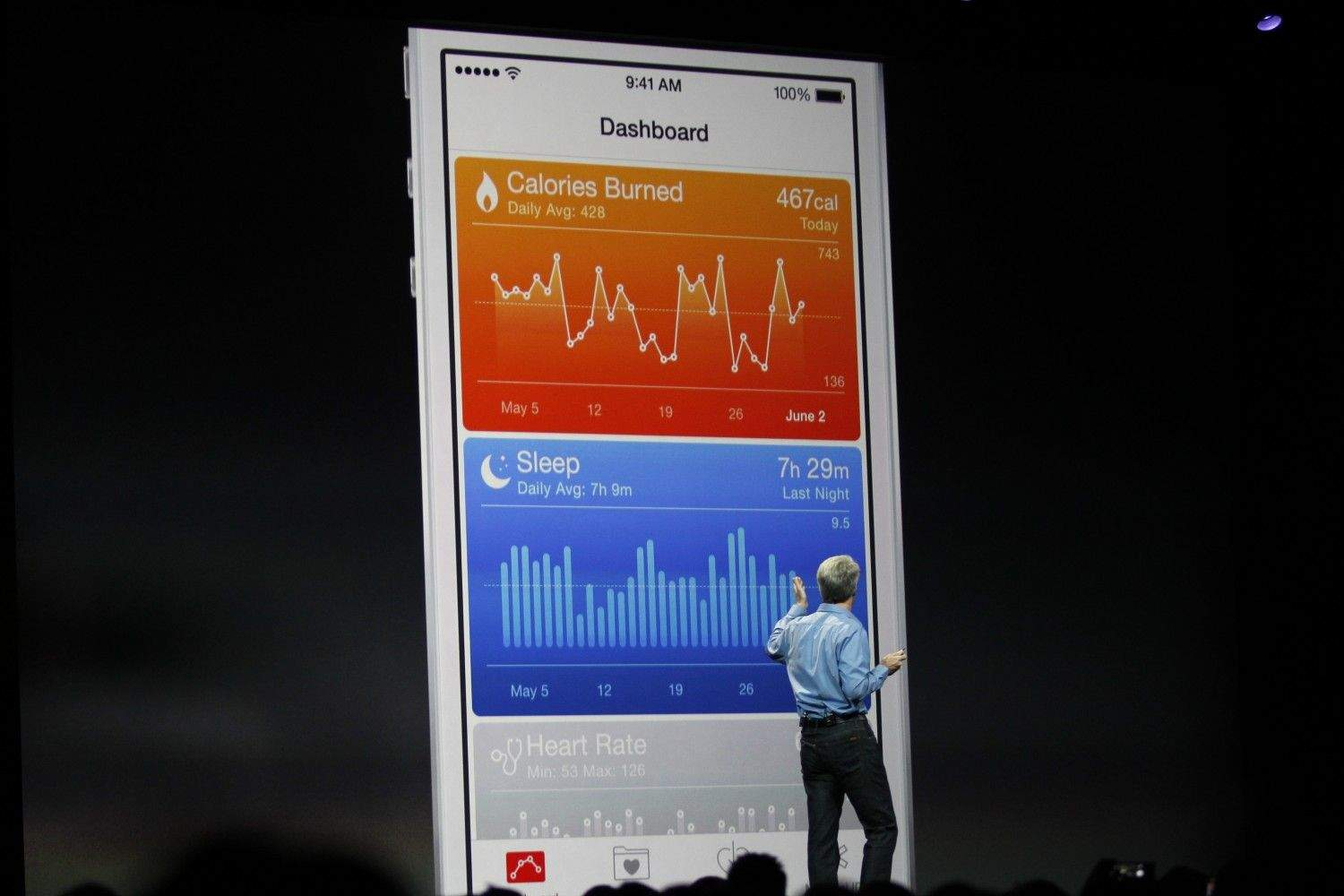 Craig Federighi showing iOS 8's Health app to the world at WWDC. (Photo: Roberto Baldwin/ The Next Web)