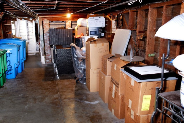 The basement where Roost's Jonathan Gillon stores his couch.