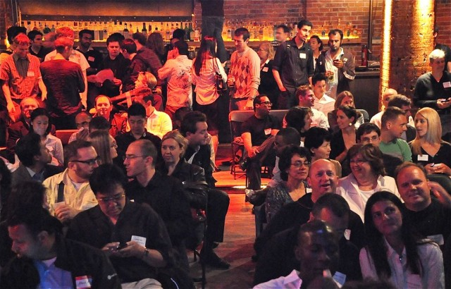 The crowd at an SF New Tech event in 2010. CC-licensed, via Julie Blaustein.