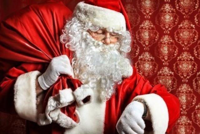 Santa discreetly taking a peek at his non-iWatch.