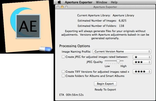 Aperture Exporter is a free tool for those fleeing Aperture after Apple shut it down. It's a beta, but that's cool because you can still use Aperture for now while you wait for the final version. Aperture Exporter will mirror your collections as folders, save the original files with XMP metadata sidecar files, and even retain your ratings, comments and other metadata. What you won't get is your image edits, but that's because Lightroom and Aperture are so different. Free