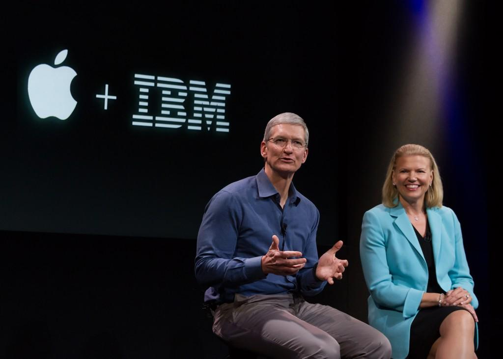 Tim Cook announcing Apple's partnership with IBM CEO Ginni Rometty last summer. Photo: Apple