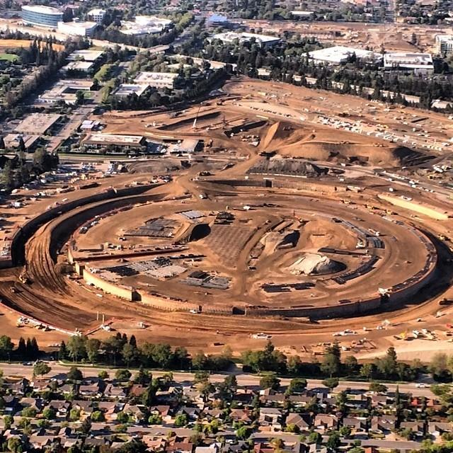 Walls at Apple HQ begin to take shape. Photo: