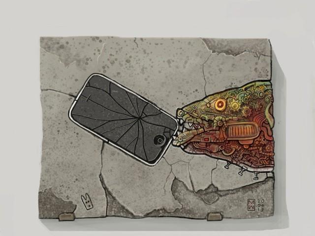 </em>Rare Fossil of Robotic Fish attacking iPhone 3G,</em> Matthew Watkins