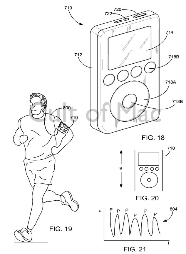 While Apple's patent application talks about the iPod, it describes technology that would seem to make more sense with the iWatch.