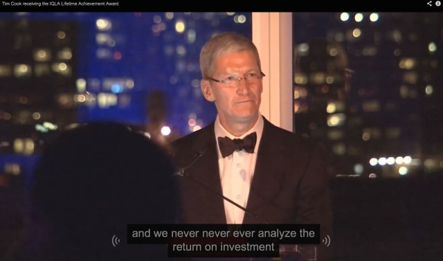 Apple's CEO gives an acceptance speech for the  IQLA Lifetime Achievement Award in 2013.