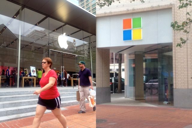 Microsoft may be headed for a smackdown in Manhattan. The maker of all devices PC is reportedly laying ground for a retail outlet just six blocks from Apple's Fifth Avenue store, one of the most photographed landmarks in New York. And a glistening cube that rakes in more than the sparklers at nearby Tiffany & Co.  If Redmond had only taken note from what happens in Oregon: here's our totally unabashedly unscientific pictorial take on Apple and Microsoft stores in downtown Portland.   All photos: Nicole Martinelli/Cult of Mac