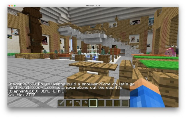The museum's atrium, created in Minecraft by kids.