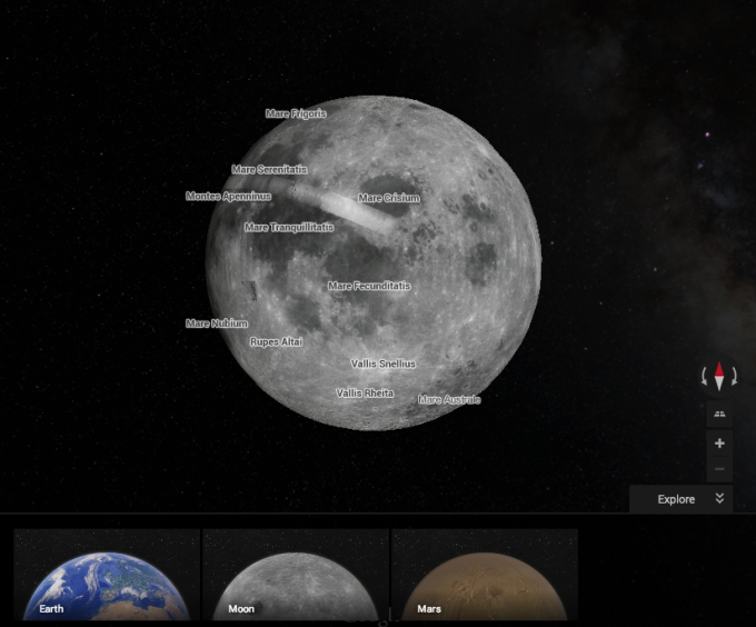 Explore Mars And The Moon With This Awesome Google Maps Easter Egg