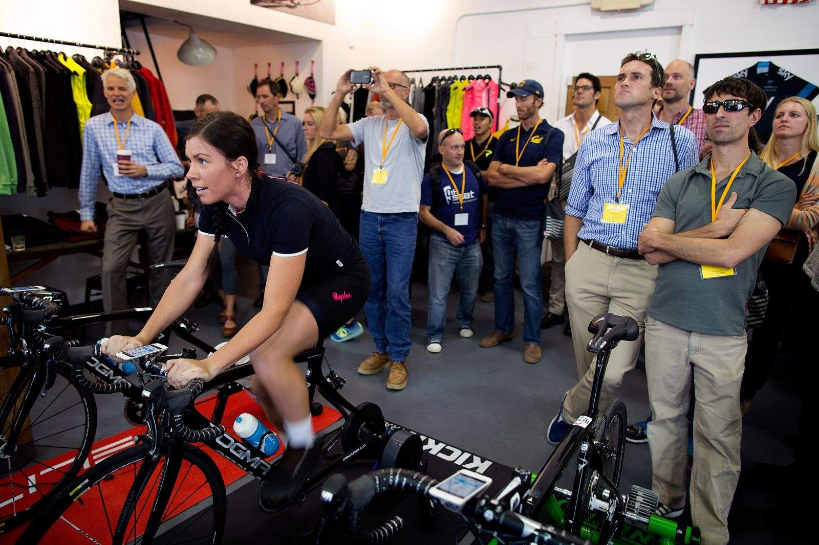 Journalists and bike geeks gather at the Rapha Store in San Francisco for Zwift's launch in September 2014.