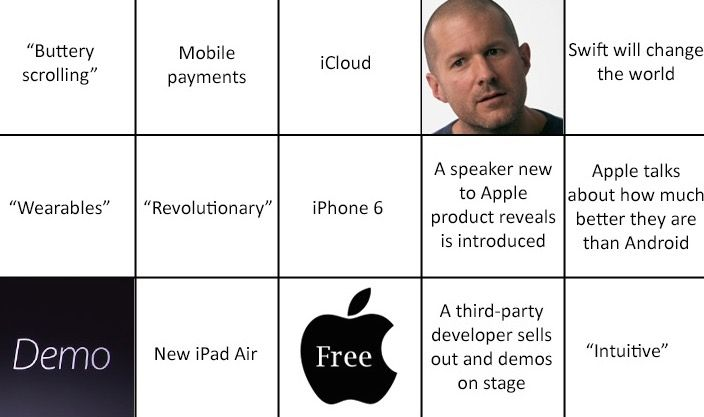 Apple bingo card, courtesy Appency.com