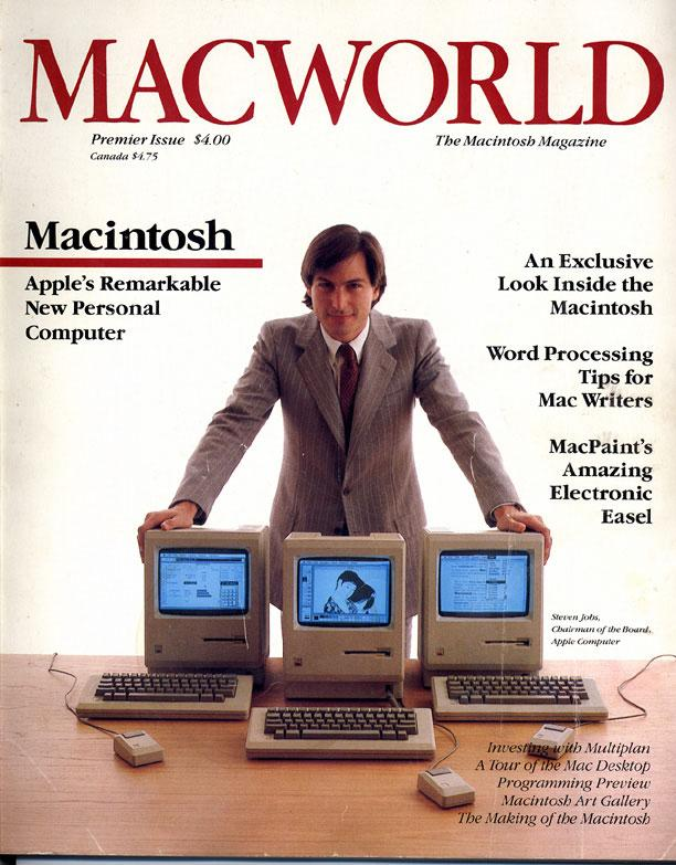 Steve Jobs on the first cover of Macworld in 1984.