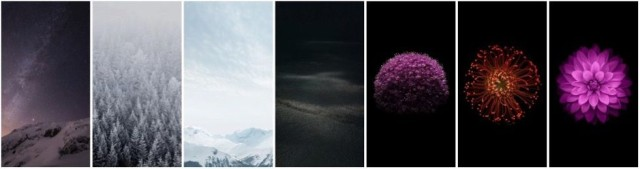 Some of the new wallpapers in iOS 8.