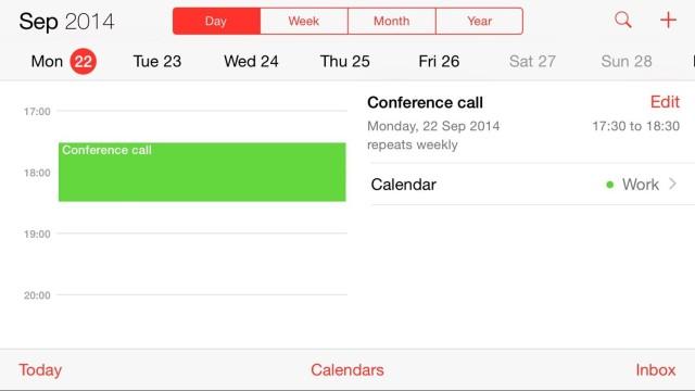 The new Calendar view for the 6 Plus. Screenshot: Killian Bell/Cult of Mac.