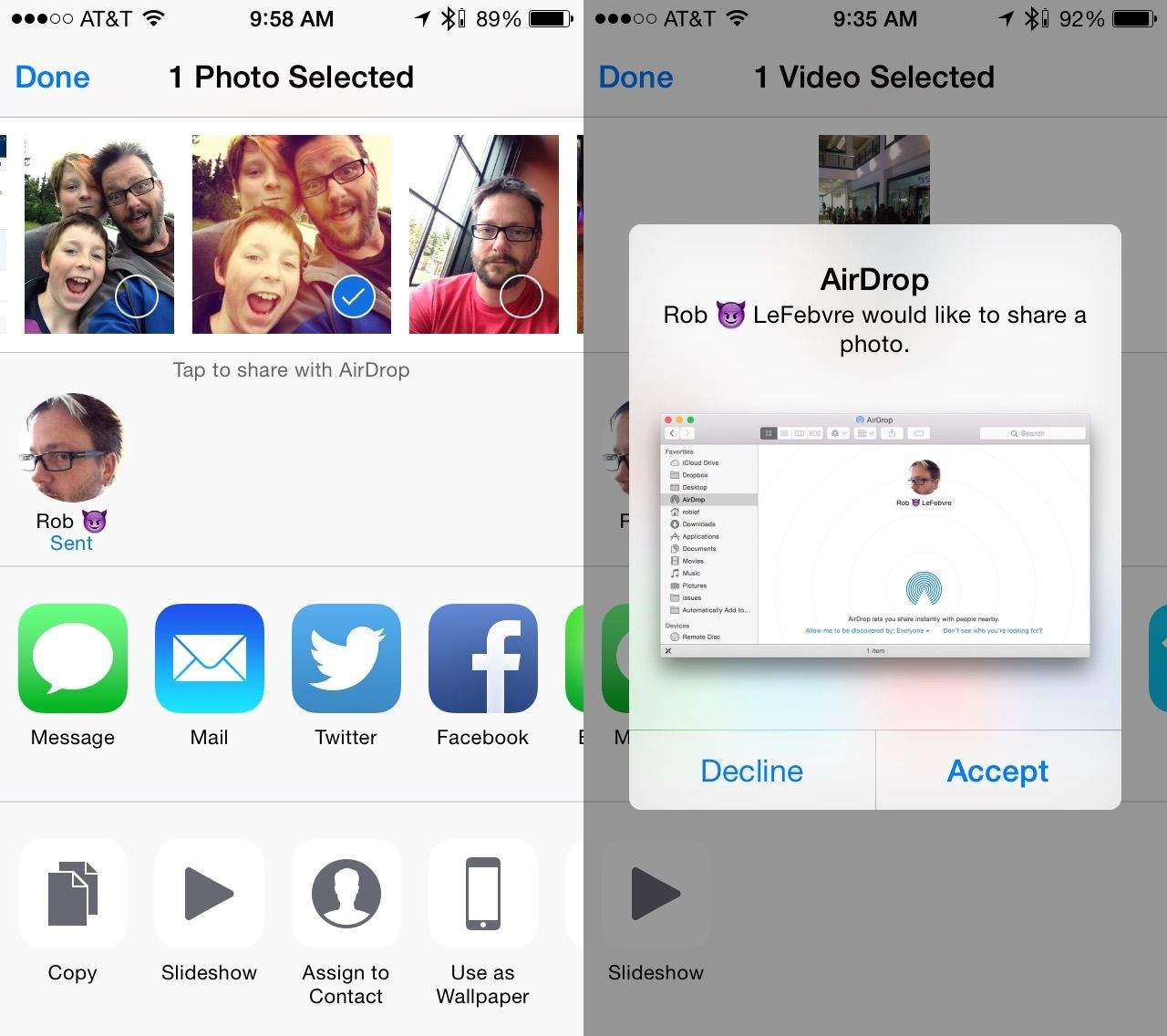 Use airdrop to share files between os x yosemite and ios 8 cult you can send files to left and get them from right os ccuart Image collections