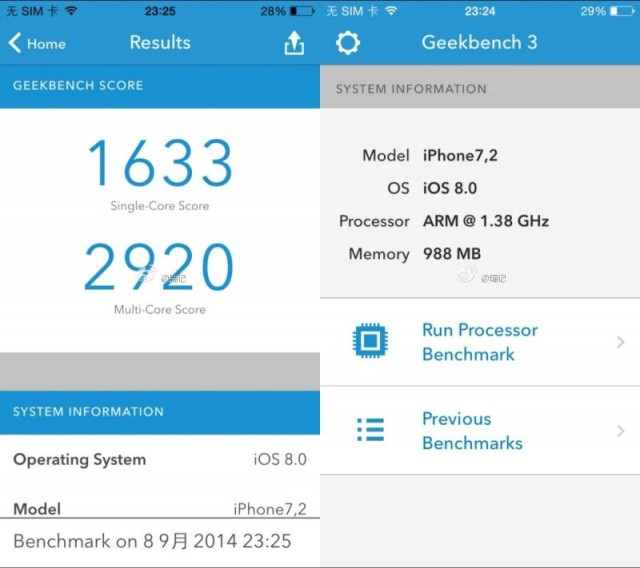 Supposed iPhone 6 benchmarks hint at faster A8 processor