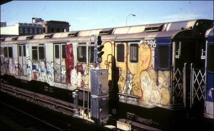 Graffiti was all over the New York City subway system in the 1970s. Photo: Bernard Chatreau
