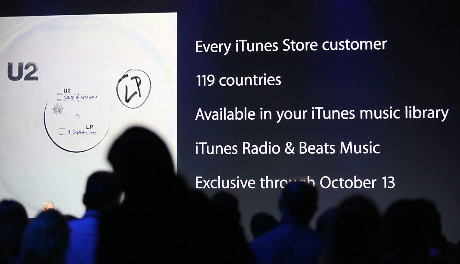 Apple delivers U2's Songs of Innocence to millions of iTunes users, but not everybody's buying the hype. Photo: Roberto Baldwin/The Next Web