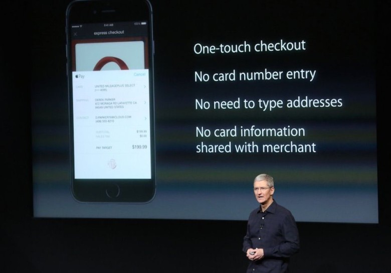 Tim Cook introducing Apple Pay. Photo: Apple