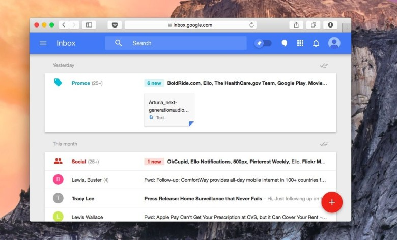 Google Inbox is now on the Mac. Photo: Buster Hein/Cult of Mac