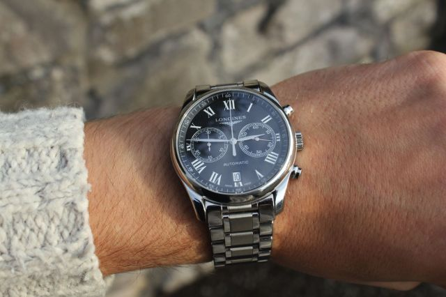 The Longines in action. Paleness of wrist may vary depending on lack of sun.