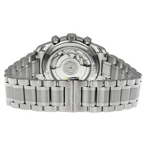 The sapphire back of the watch displays its inner-workings in all their cog-whirring glory.