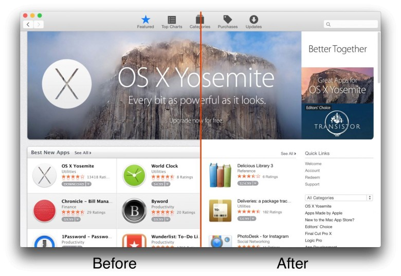 Spot the difference! The Mac App Store has received the OS X Yosemite treatment. Photo: Cult of Mac