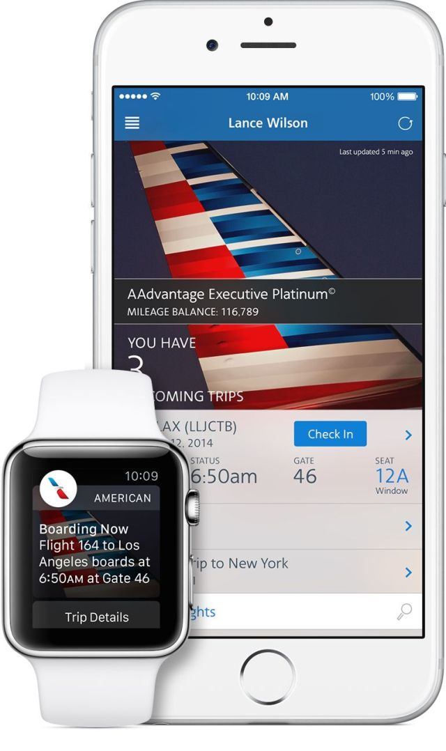 A preview of American Airlines' upcoming Apple Watch app.