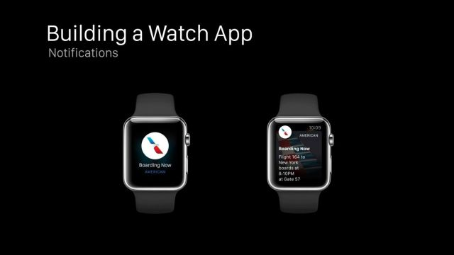 "With a quick raise of your wrist, an app can turn a ""short-look"" notification (left) into a ""long-look"" notification (right). Photo: Apple"