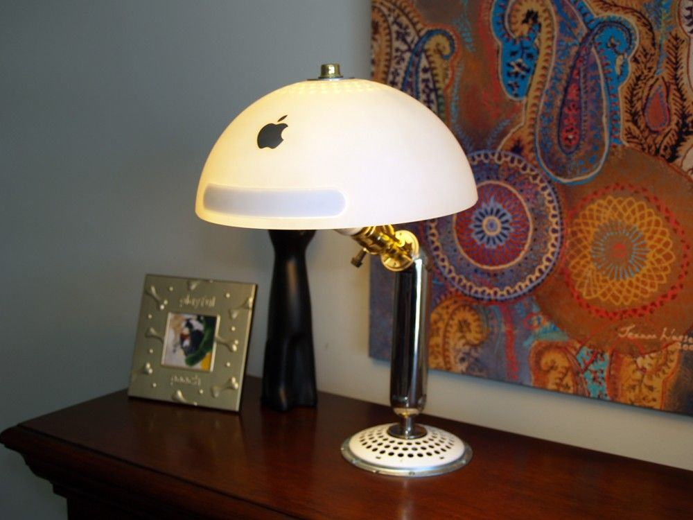 If you've got an old iMac G4 knocking around, turning it into a stunning desk lamp is actually easier than it looks. This particular model was sold on Etsy, but there are lots of guides to making your own.  Photo: SewWhatSherlock, Etsy